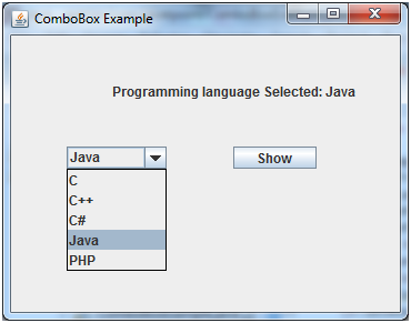 JComboBox en Java Swing