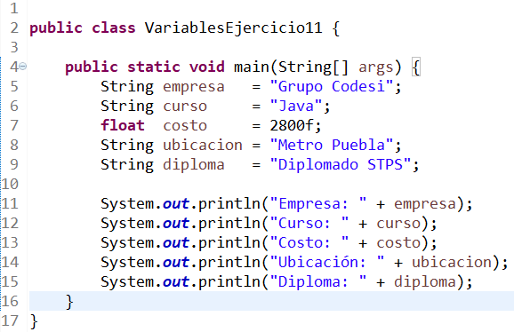 variables en java ejercicio 5