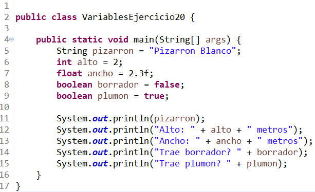 variables en java ejercicio 20
