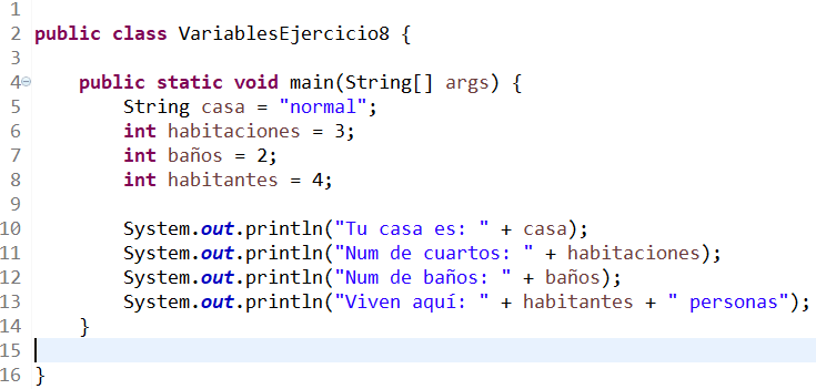 variables en java ejercicio 8